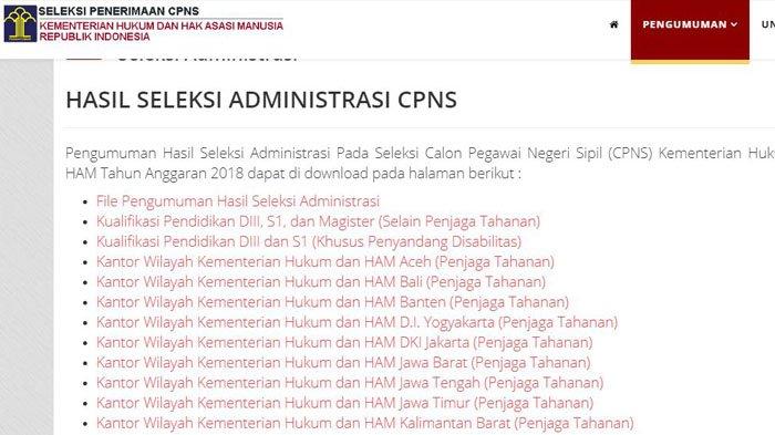 Pengumuman Hasil Seleksi Administrasi CPNS Kementerian Hukum dan HAM 2018, Download Disini