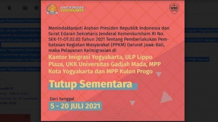 Pengumuman Penyesuaian Pelayanan Kantor Imigrasi Yogyakarta