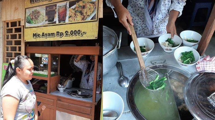 Mie Ayam Atik yang dijual hanya Rp 2.000 semangkuk di Dusun Karanglo, Desa Glagahombo, Kecamatan Tegalrejo, Kabupaten Magelang, Jawa Tengah, Selasa (14/1/2020).