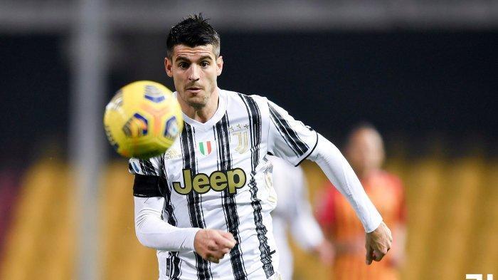 Penyerang Alvaro Morata saat Benevento vs Juventus