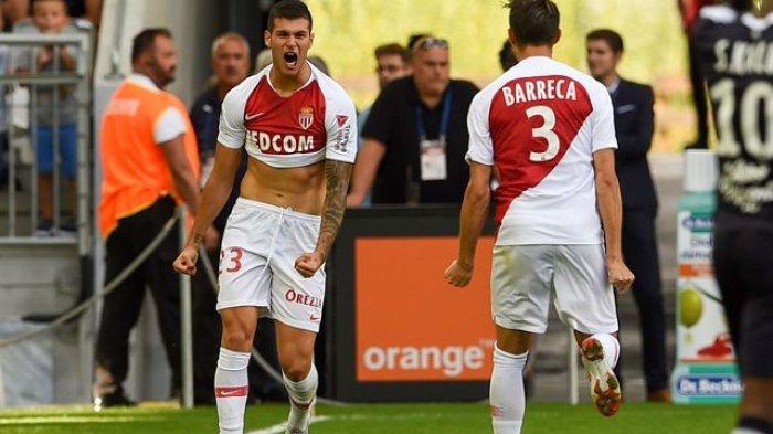 Penyerang Monaco Pietro Pellegri merayakan gol saat Bordeaux dan Monaco pada 26 Agustus 2018 di stadion Matmut Atlantique di Bordeaux, Prancis.