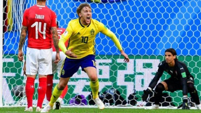 Swedia Pastikan Satu Tempat di Perempatfinal Piala Dunia 2018, Ulangi Capaian 24 Tahun Silam