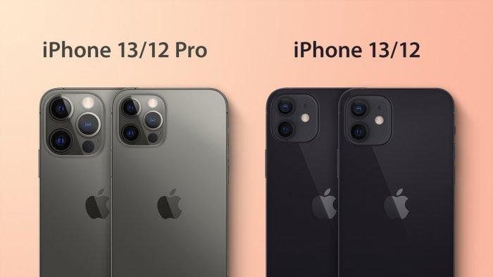 Perbandingan kamera belakang iPhone 13 dan iPhone 12.
