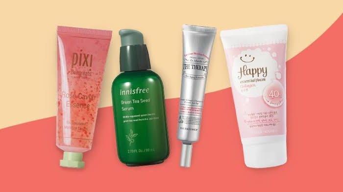 Ilustrasi produk skincare, essence dan serum.