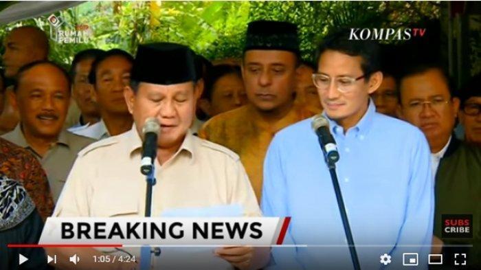 Penyataan Sikap Prabowo Subianto Tanggapi Pengumuman Hasil Rekapitulasi KPU