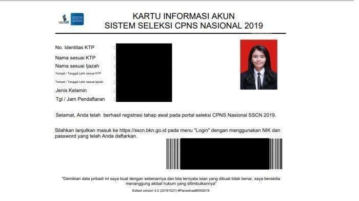 Contoh Kartu Informasi Akun SSCN