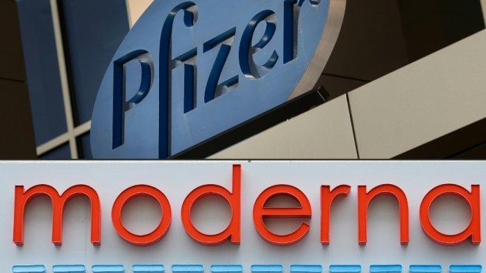 Tanda untuk perusahaan farmasi Pfizer di Cambridge, Massachusetts, pada 18 Maret 2017, dan kantor pusat Moderna di Cambridge, Massachusetts pada 18 Mei 2020.