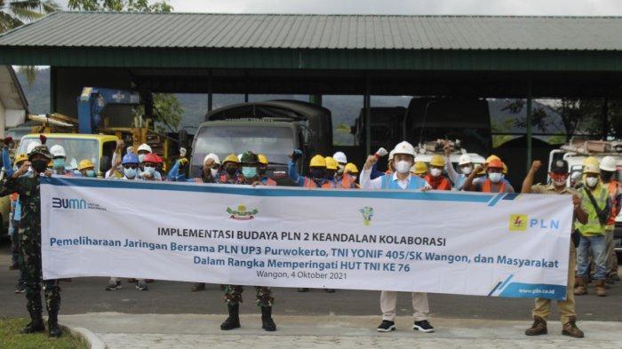 PLN UP3 Purwokerto Gandeng Batalyon Infanteri 405/Surya Kusuma Bersa Tingkatkan Keandalan Jaringan