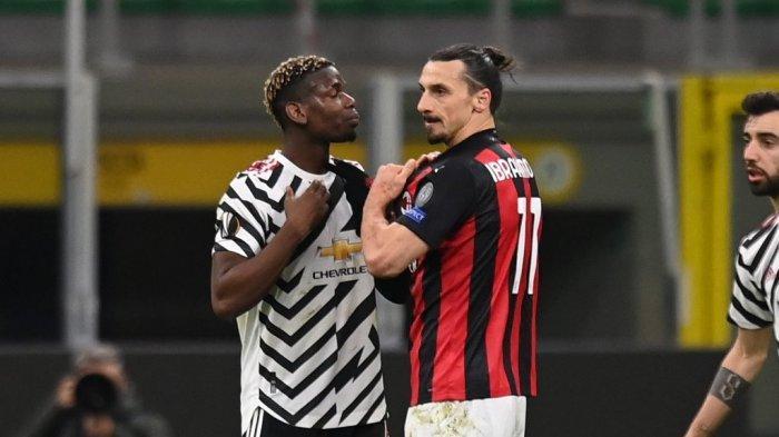 Pogba dan Ibrahimovic saat tampil di laga AC Milan kontra Manchester United di ajang Liga Europa di San Siro, Jumat (19/3).
