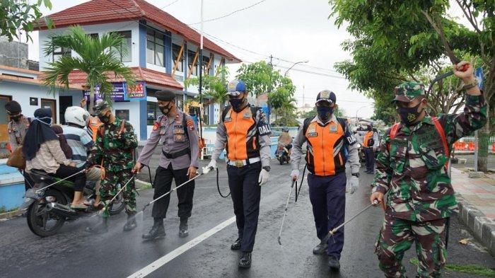 PPKM Mikro di Kota Magelang,TNI/Polri Gencarkan Disinfeksasi