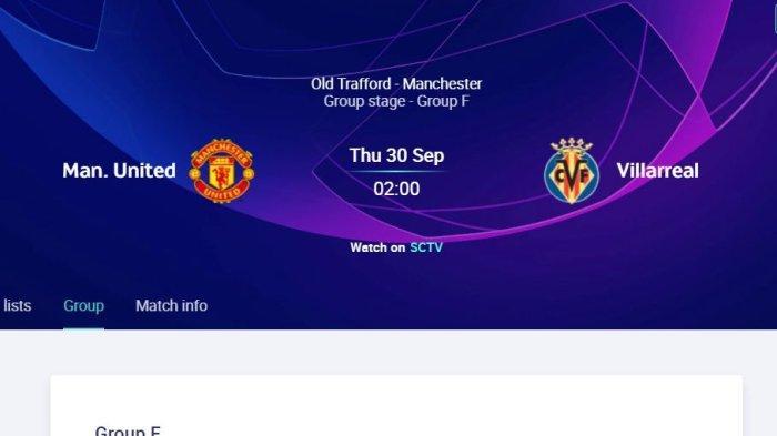 Channel TV Liga Champions Manchester United vs Villarreal - Link Siaran Live Streaming
