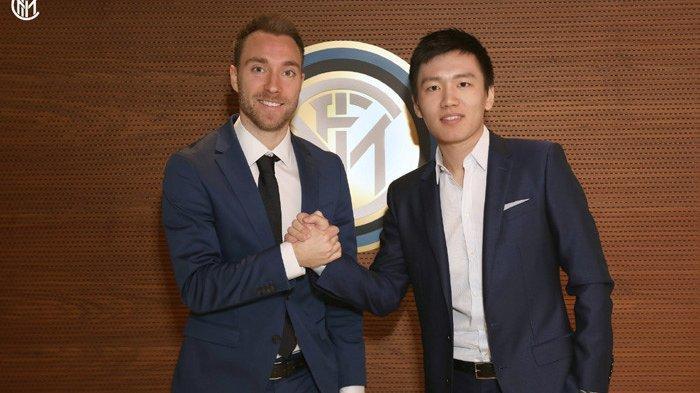Presiden Inter Milan Steven Zhang (kanan) dan Christian Eriksen (kiri)