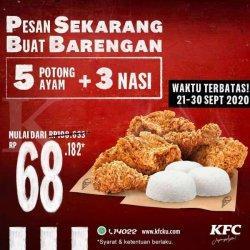Asik! Promo KFC 5 Ayam dan 3 nasi mulai Rp 68.182, Periode 21-30 September 2020