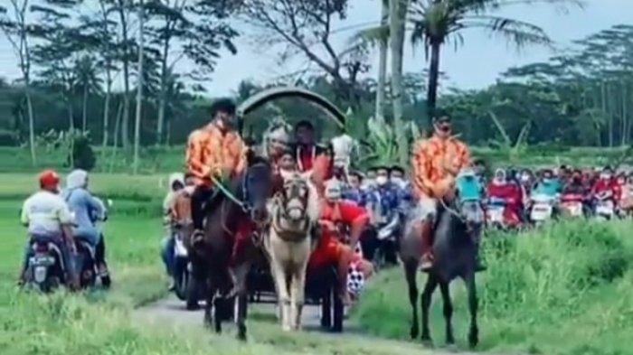 VIRAL, Prosesi Ngunduh Mantu dengan Menaiki Kereta Kuda di Magelang