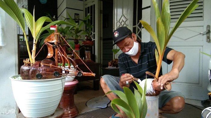 Belajar Autodidak, Pensiunan ASN di Klaten Bikin Bonsai Kelapa Ukir, Laku Hingga Jutaan Rupiah