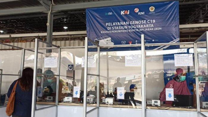 Layanan tes COVID-19 dengan menggunakan GeNose di Stasiun Tugu, Yogyakarta, Jumat (5/2/20201)