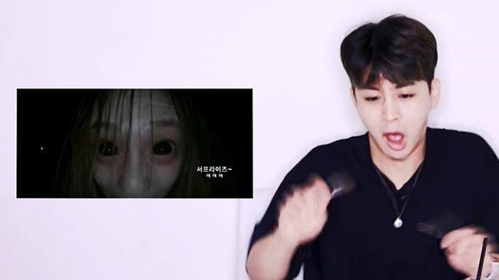Reaksi Yunhyeong iKON saat menonton cuplikan film horror