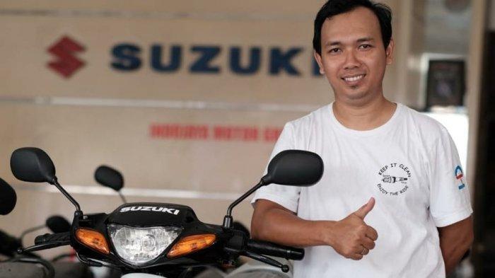 Satria Hiu hasil restorasi Gregorius Nugi Nugraha, pehobi Suzuki Satria asal Yogyakarta.