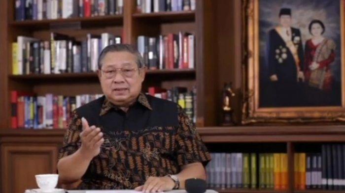 Tangkapan layar video dukungan Ketua Majelis Tinggi Partai Demokrat, Susilo Bambang Yudhoyono (SBY) kepada paslon One Krisnata - Muhammad Fajri (ORI) di Pilkada Klaten 2020.