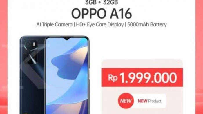 Spesifikasi HP OPPO A16 Dilengkapi Memori RAM 3GB + ROM 32GB