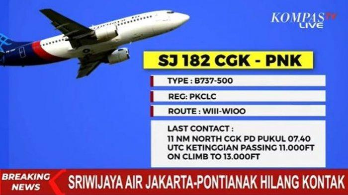 Kehilangan Ketinggian, Begini Kronologi Pesawat Sriwijaya Air Hilang Kontak, Titik Jatuh Ditandai