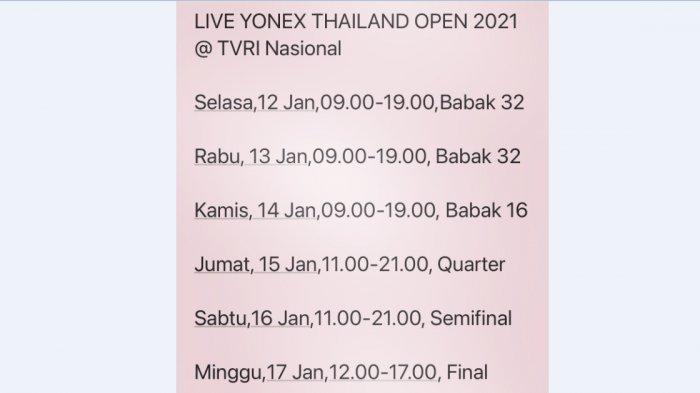 Jadwal Thailan Open I 2021