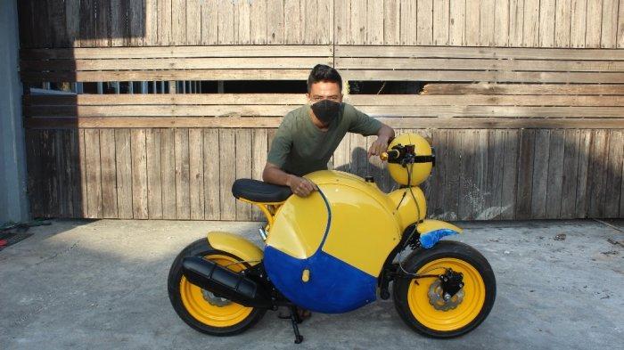 Transformasi Yamaha Nouvo Z Jadi Motor 'Minion', Kustom Unik Green Custom Motorcycle Bantul
