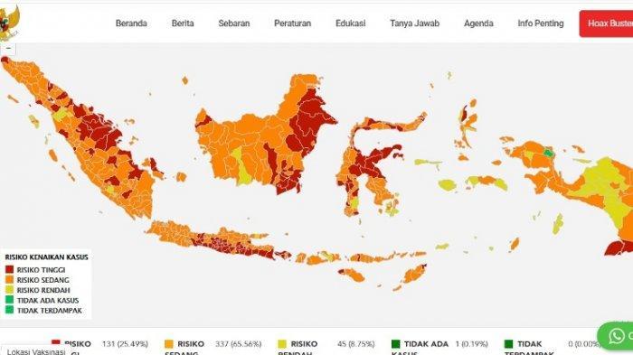 Peta Sebaran Kasus Covid-19 Indonesia Rabu 25 Agustus Hari Ini, Jabar Tertinggi, DIY Keempat