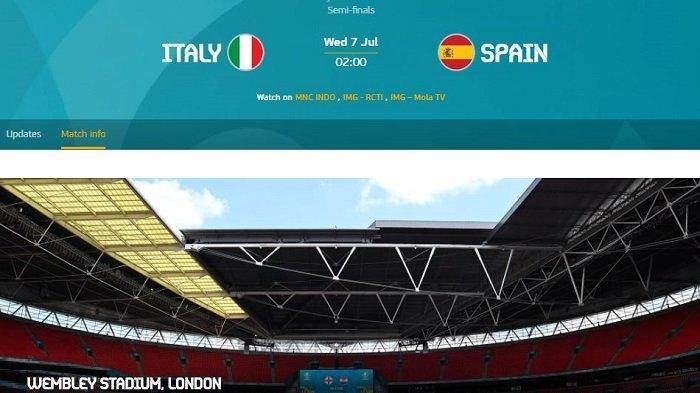 Siaran Langsung Semi Final Euro ITALIA vs SPANYOL di RCTI MolaTV - Daftar Pemain & Channel TV