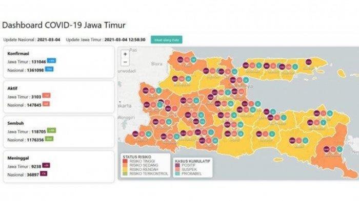Jawa Timur Nol Zona Merah Covid-19, Berikut Rincian Peta Sebaran Zona Oranye dan Zona Kuning