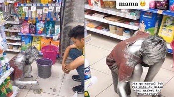Video Viral Bocah Belikan Ibunya Mie Instan di Minimarket Pakai Uang Hasil jadi Manusia Silver