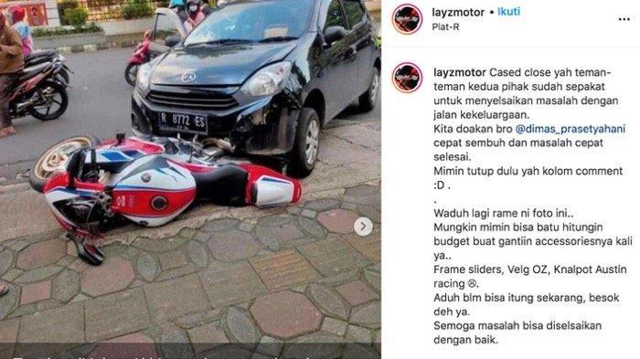 Viral dan diperbincangkan netizen di media sosial, kasus mobil Ayla menabrak sepeda motor Honda CBR1000RR di Jalan Prof DR HR Boenyamin Purwokerto, Rabu (18/11/2020)