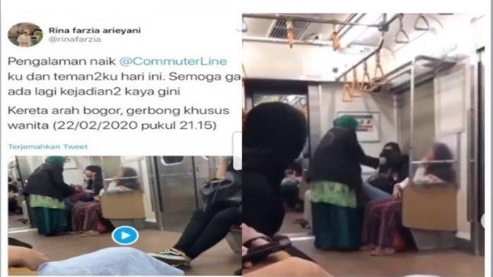Viral di Medsos Ibu-ibu Menampar dan Menjambak Penumpang di KRL Arah Bogor