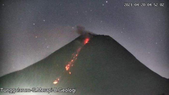 Visual Gunung Merapi Selasa (20/4/2021) pukul 04.52