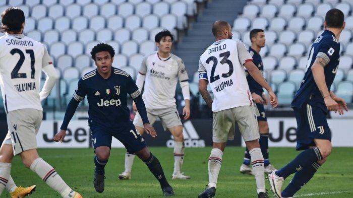 Weston McKennie selebrasi setelah mencetak gol di Serie A Italia Juventus vs Bologna pada 24 Januari 2021 di stadion Juventus di Turin.