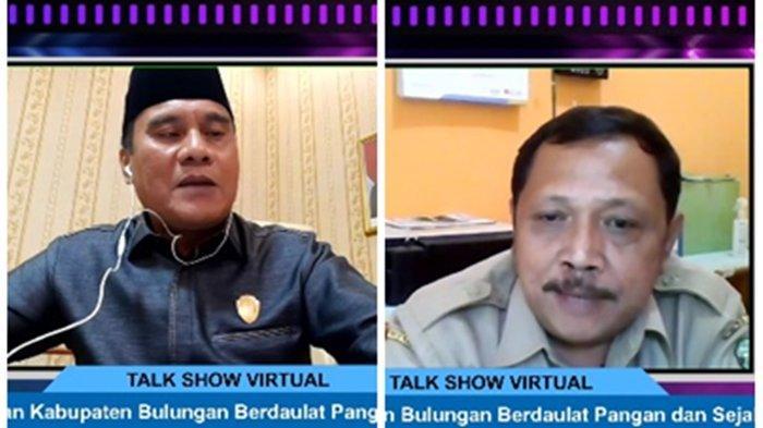 Wakil Ketua DPRD Bulungan Hamka, dan Kepala Dinas Pertanian Achmad Yani, dalam dalam Talkshow Virtual bersama TribunKaltara.com bertajuk Wujudkan Bulungan Daulat Pangan dan Sejahtera, Senin (16/8/2021). (Tangkapan Layar Youtube TribunKaltara.com)