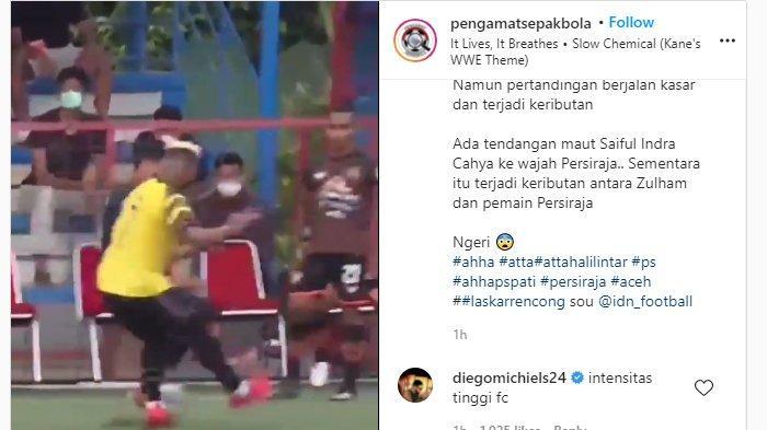 Video viral aksi brutal para pemain AHHA PS Pati FC saat menghadapi Persiraja pada laga persahabatan di lapangan Aldiron, Jakarta, Senin (6/9/2021) sore. (Instagram / @pengamatsepakbola)