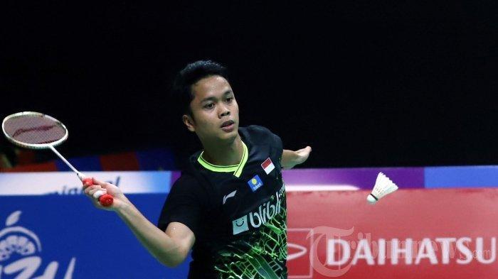 Tunggal Indonesia Anthony Sinisuka Ginting. (Tribunnews/Jeprima)