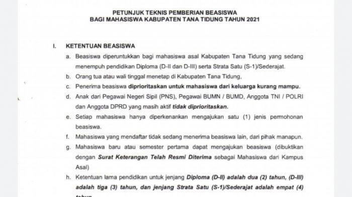 Ilustrasi penerimaan beasiswa pendidikan // SK Juknis pemberian beasiswa bagi mahasiswa Tana Tidung tahun 2021.
