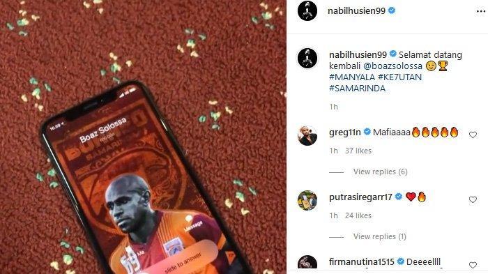 Nabil Husein mengabarkan Borneo FC telah merekrut Boaz Solossa jelang Liga 1 2021 bergulir, Sabtu (17/7/2021). (Instagram / @nabilhusien99)
