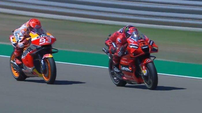 Hasil MotoGP Aragon 2021, Marc Marquez dan Bagnaia Naik Podium, Quartararo Gagal Maksimal