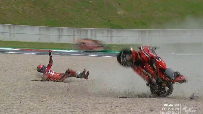 Siaran Langsung MotoGP Italia 2021 Marc Marquez dan Bagnaia Jatuh, Valentino Rossi Jauh di Belakang