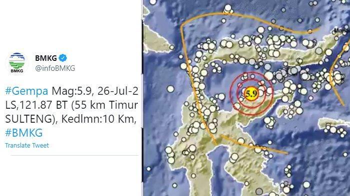 Gempa M 5,9 Guncang Sulawesi Tengah, Kedalaman 10 Kilometer, BMKG Imbau Hati-hati
