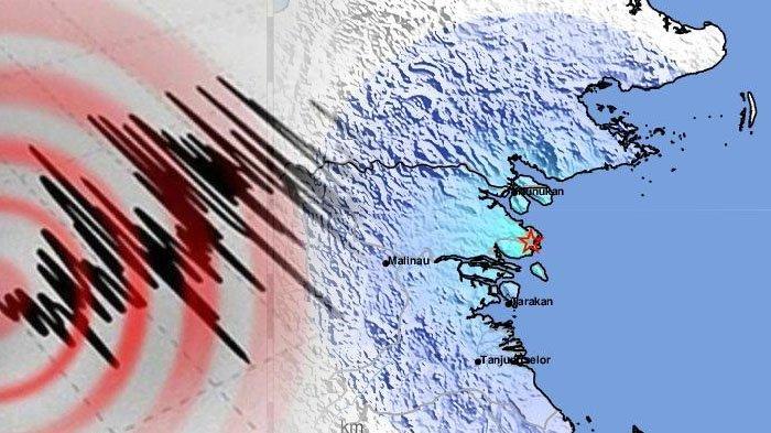 Gempa Tarakan 4,4 SR, Kamis (5/8/2021). (Kolase TribunKaltara.com / Twitter @infoBMKG)