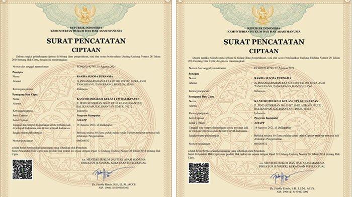 Inovasi unggulannya yakni ASIAPP (Aplikasi Aman Penyimpanan Paspor) Kantor Imigrasi Balikpapan mendapatkan pengakuan pencataan hak cipta dari Dirjen Kekayaan Intelektual Kementerian Hukum dan HAM RI.