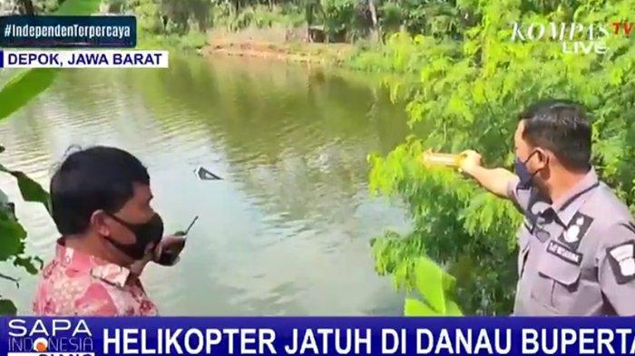 Helikopter Jatuh di Danau Buperta Depok, Saksi Mata Lihat Penumpang Ada 2 Orang