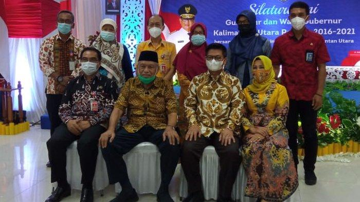 Gubernur Kaltara, Irianto Lambrie dan wagub Udin Hianggio saat acara silaturahmi sekaligus berpamitan dengan segenap ASN di lingkungan Pemprov Kaltara, Jumat (29/1/2021). (TribunKaltara.com / Maulana Ilhami Fawdi)