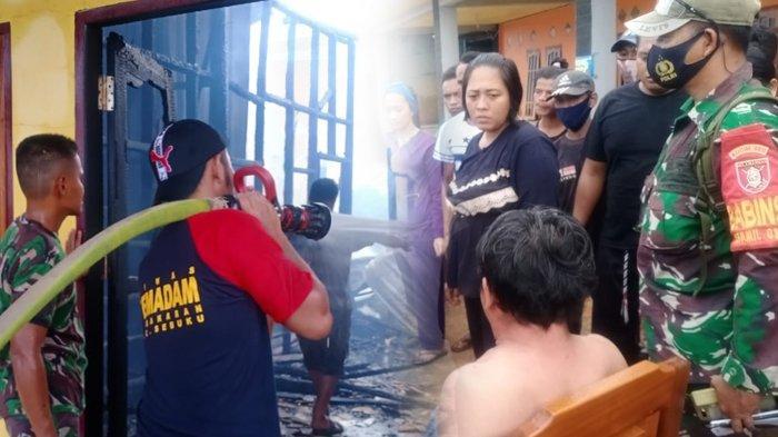 Satgas Pamtas Yonif 623/BWU sigap padamkan api dan tangkap pelaku pembakaran Penginapan Sederhana yang berada di Desa Apas, Rt. 01, Kec. Sebuku, Kab. Nunukan, Kalimantan Utara, Minggu (25/10/2020). ( HO / Satgas Pamtas Yonif 623/BWU)