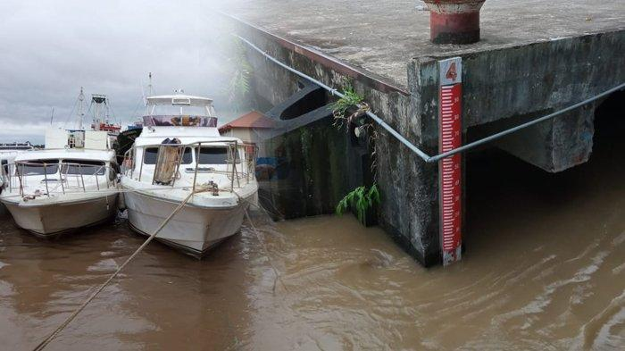 Ketinggian Air Sungai Kayan di Pelabuhan Speedboat VIP mencapai 3 Meter, Jumat (9/4/2021), naik dari sebelumnya di angka 2,7 Meter pada Kamis malam lalu. (TribunKaltara.com / Maulana Ilhami Fawdi)