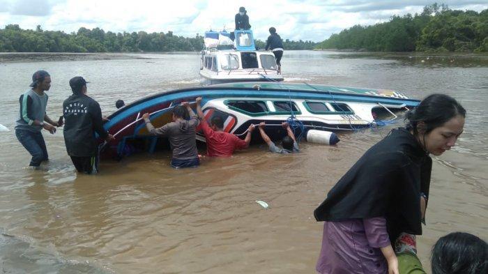 Kondisi di area pinggiran sungai di Desa Pelaju Kecamatan Sembakung pasca terbaliknya speedboat Riyan, Senin (7/6/2021). DOKUMENTASI WARGA